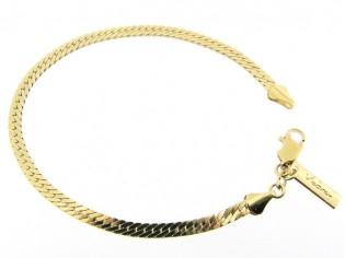 Gouden armbandje met platte gesloten gourmet schakeltjes