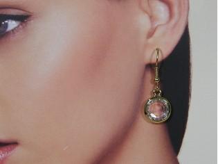 Gouden roos geslepen heldere Swarovski kristallen oorhanger