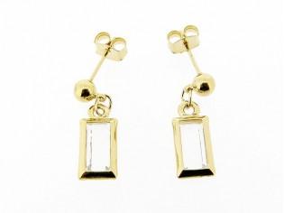 Gouden heldere Swarovski kristallen oorhanger