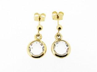 Gouden Swarovski kristallen helder roos geslepen oorhanger