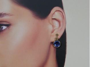Gouden saffier Swarovski kristallen oorhanger