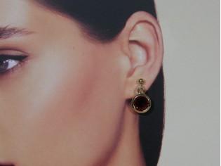 Gouden robijn Swarovski kristallen oorhanger