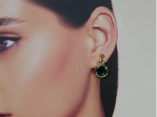 Gouden Swarovski kristallen smaragd oorhanger