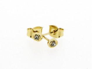 Gouden heldere ovale Swarovski Strass oorknopje