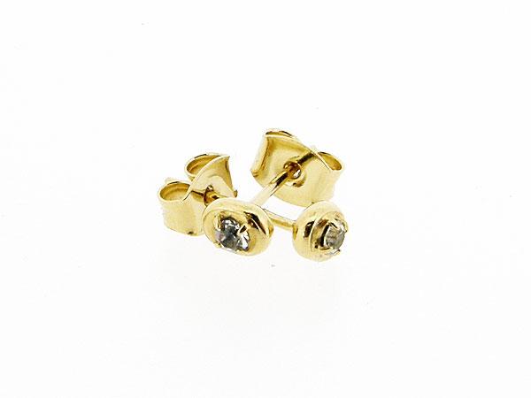 Gouden heldere Swarovski strass oorsteker