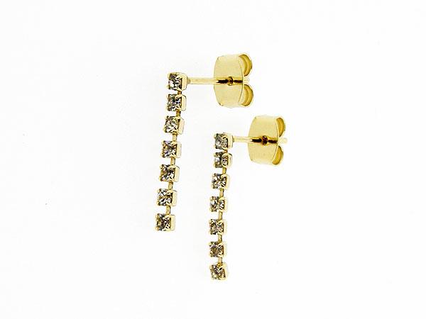 Gouden Strass chandelier oorhanger