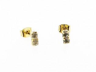 Gouden oorsteker met dubbele heldere Swarovski kristallen