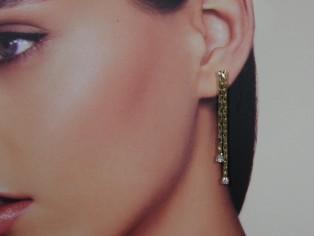 Lange oorhanger met cobra kettinkje en kristallen
