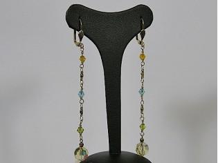 Lange oorhanger met gekleurde Jonquil kristallen