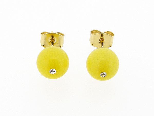 Gele jade edelsteen oorknopjes met gouden stekertjes.