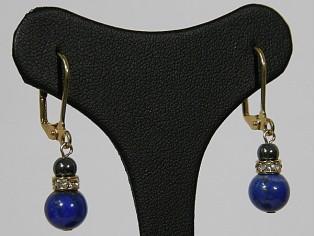 Gouden oorhanger Lapis Lazuli en Hematiet edelsteen