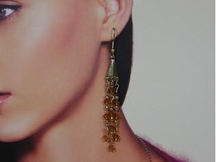 Lange oorhanger met 3rij Topaas Swarovski kristallen