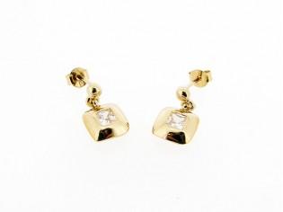 Rosé gouden oorsteker met zirconia steentjes