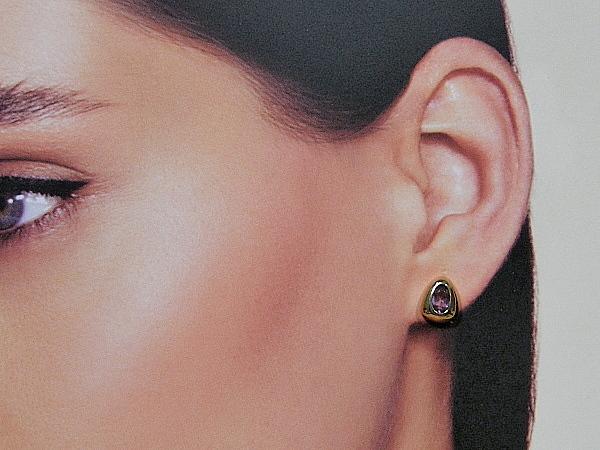 Rosé gouden oorknop met Amethist kristallen