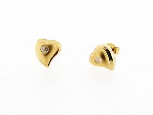 Rosé gouden hart oorknopjes met zirconia steentjes
