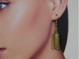 Gouden oorhanger met Landschap Agaat edelsteen