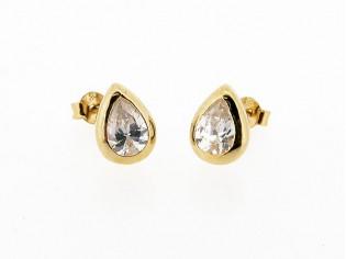 Rosé gouden ovale zirconia oorsteker