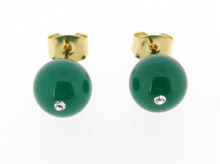 Groene agaat edelsteen oorknopjes met gouden stekertjes