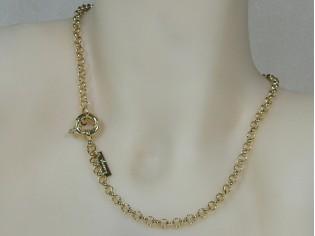 Gouden halsketting jasseron collier met grote elegante veersluiting