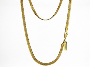 Gouden halsketting platte gourmet collier met slangen schakeltjes
