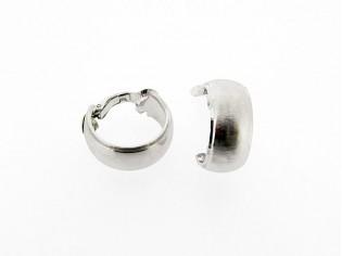 Zilveren Franse gediamanteerde creolen met oorclip