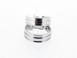 Zilveren grote Franse creolen met oorclip