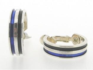 Zilveren grote Franse creolen met oorclip en ingelegde emaille blauw zwart