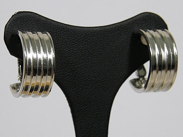 Zilveren Franse brede creolen met oorclip