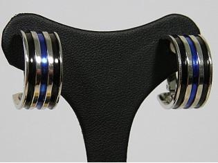 Zilveren brede Franse creolen met oorclip en ingelegde emaille blauw zwart