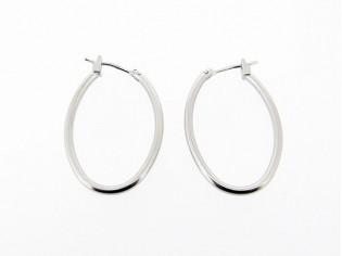 Zilveren ovale creool oorhanger