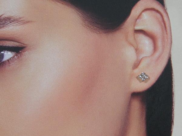 Zilveren heldere kristallen vierkante mini oorknop