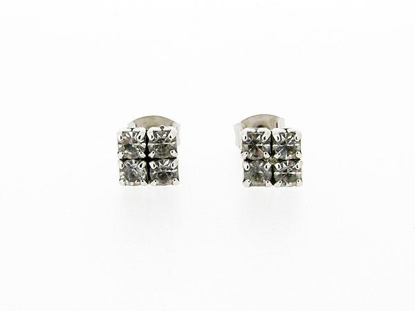 Zilveren heldere kristallen vierkante oorknop