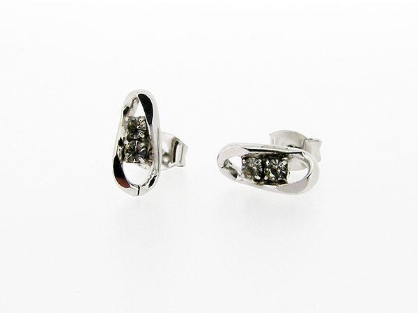 Zilveren figaro strass oorknopje