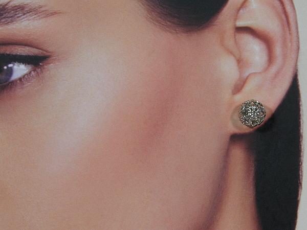 Zilveren Franse filigreen bal oorsteker