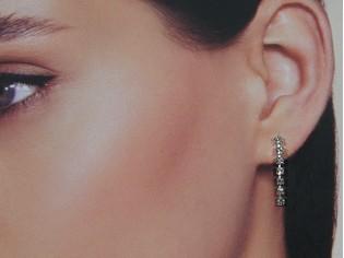 Lange oorhanger met strass steentjes