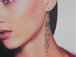 Lange oorhanger met heldere kristallen