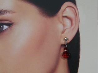Zilveren Swarovski robijn kristallen oorhanger