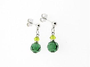Zilveren Swarovski smaragd kristallen oorhanger
