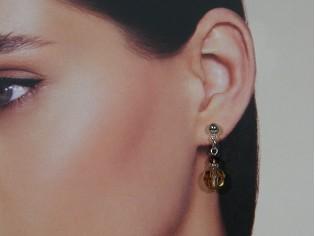 Zilveren Swarovski topaas kristallen oorhanger