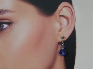 Zilveren Swarovski saffier kristallen oorhanger
