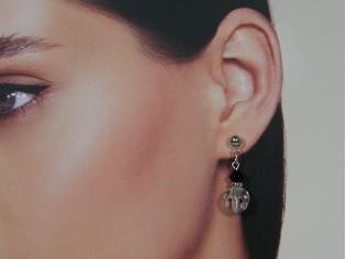 Zilveren Swarovski heldere kristallen oorhanger