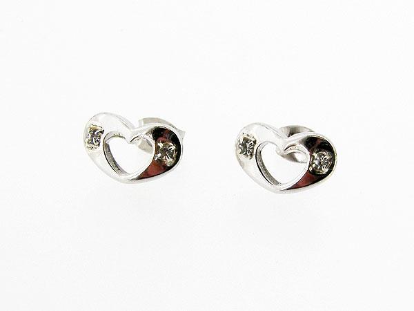 Zilveren hartjes oorknopje met strass steentjes