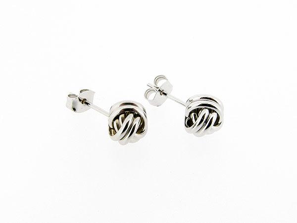 Zilveren gevlochten knoop oorknop