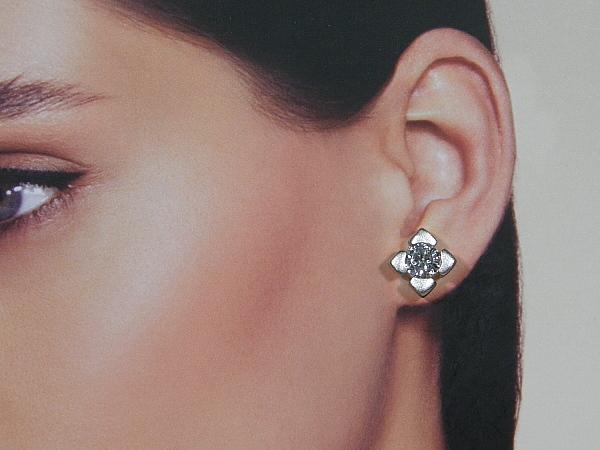 Zilveren oorsteker met diamant geslepen zirkonia (CZ) stenen