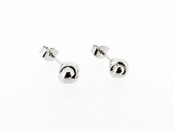Zilveren gevlochten bolle knoop oorsteker