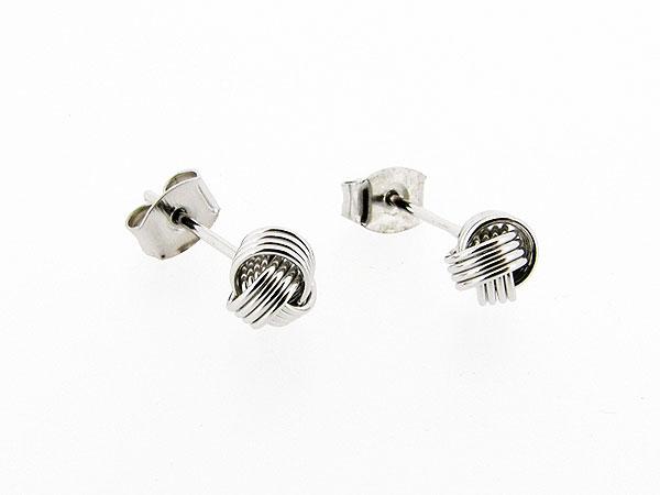Zilveren gediamanteerde knoop oorsteker