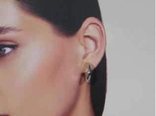 Zilveren vierkante kleine platte creolen oorring