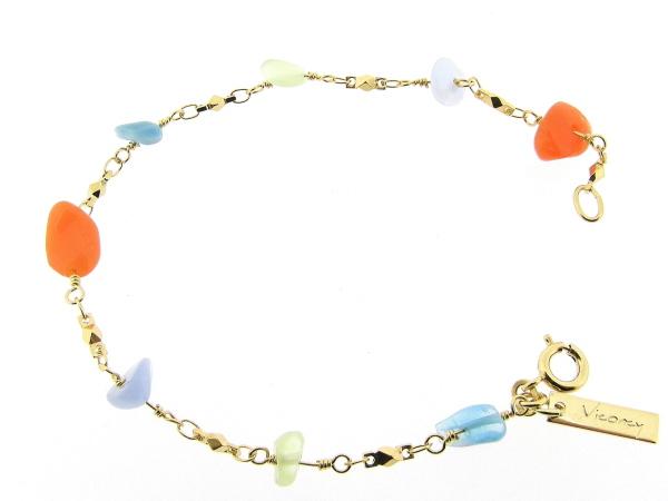 Gouden armbandje met fantasie schakeltjes en gekleurde edelsteentjes