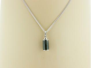 Zilveren gourmet ketting met hangertje Markasiet edelsteen
