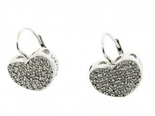 Zilveren chique oorhanger met heldere kristallen